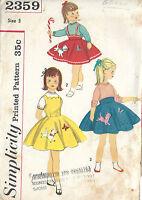 "1957 Childrens Vintage Sewing Pattern S3 C22"" DRESS SKIRT & TRANSFER (C13)"