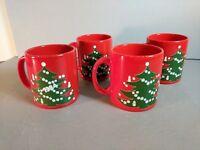 Set of 4 Waechtersbach Christmas Tree Mugs Tree, 1 has date 1984 Red Green White