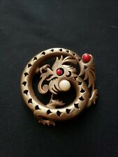 Vintage Rare Pin Brooch Unbranded Brass Dragon With 3 Stones 1 White 2 Red Ones