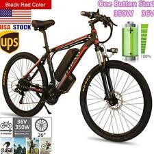 26'' 350W 36V Electric Mountain Bike Bicycle Shimano Black&Red 21 Speed  USA