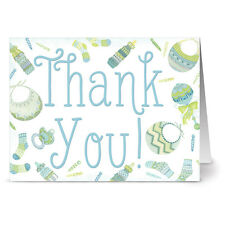 24 Note Cards - Baby Menagerie Thank You Blue - Cobalt Blue Envs