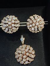 2.51 Cts Round Brilliant Cut Natural Diamonds Pendant Earrings Set In 14K Gold