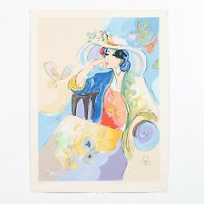"""Isaac Maimon Limited Edition Serigraph """"Woman With A Big Hat"""" Large 23.5"""" W x 31"""
