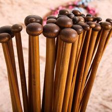 18Sizes 25cm 36pcs Smooth Carbonized Bamboo Single Pointed Knitting Needles Ya9