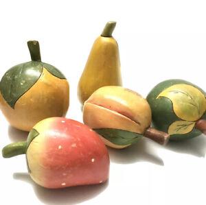 Primitive Folk Art Wooden Hand-Made Painted Fruit 5 Piece