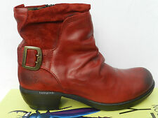 Fly London Mel Chaussures Femme 40 Bottes Bottines Montantes Motard Red UK7 Neuf
