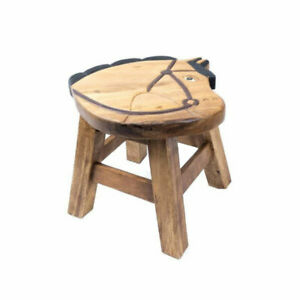 """Wooden Childs Stool 10"""" with Horse Design Furniture Home Decor."""