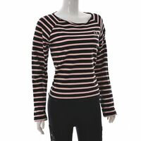 Fred Perry Womens Boat Neck Pullover Top Pink Black Striped USA10, UK14, EU42