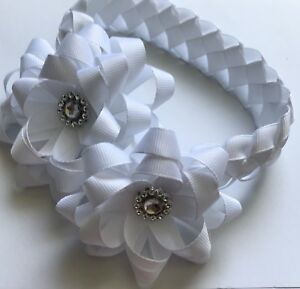 Handmade Two Flower Bun Wrap , Bridesmaid , Holy Communion , Christening,