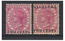 More details for mauritius - 1891, 2c on 4c (normal & surch doubled & inv) - m/m -sg 118 & 118c