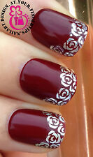 NAIL ART WRAP WATER TRANSFER DECALS STUNNING SILVER ROSES/FLOWERS NAIL TIPS #28