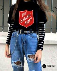 Satanic Army Emo Goth Pentagram Gothic Satan Bloodline Black Unisex T Shirt