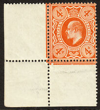 SG 286 4d Bright Orange M27(1) S.W. corner marginal in Post Office fresh U.Mint