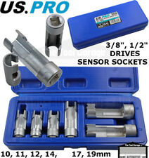 US PRO Tools 6pc Difficult Access Sensor Socket Sockets Set 10-19mm ABS etc 5558