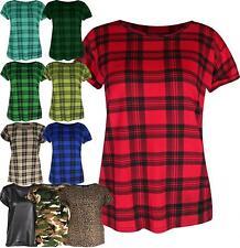 Womens Ladies Rolled Sleeve Tartan Print Check T-shirt Top Tee Short Cap Sleeve