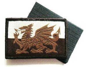 WELSH DRAGON PATCH Military forces hook loop back UBAC desert ops tan flag badge
