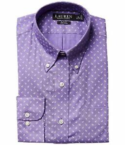Lauren Ralph Lauren Slim Fit Dress Shirt Mens Lightweight Long Sleeves Iron Free