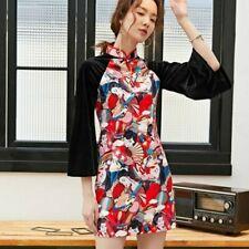 Lady Girls Velvet Cheongsam Dress Retro Slim Harajuku Slit Qipao Chinese Retro
