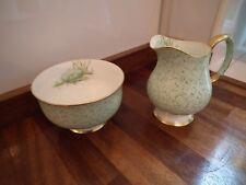 Paragon Water Lily Pattern S2272 Green Milk Jug & Sugar Bowl
