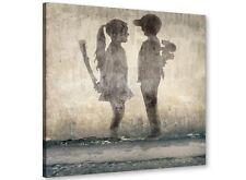 Banksy Boy meets girl Graffiti Tela moderno 49cm Square - 1s291s