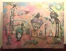 GUS FINK Art ORIGINAL Outsider Painting Wood Abstract Surrealism BRAND NAME JUNK