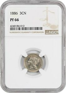 1886 3cN NGC PR 66 - 3-Cent Nickel
