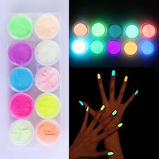 NEW 10 Neon Colors Phosphorescent Fluorescent Nail Art Powder Night Glow Acrylic