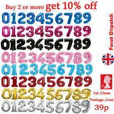 """40"""" Giant Foil Number Balloons Letter Birthday Age Party Wedding Helium Events"""
