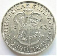 1943 SOUTH AFRICA,George VI, 2 Shillings grading Good VERY FINE / Abt EXTRA FINE