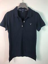 Ladies GANT Polo Shirt Size S Navy Blue Slim Fit Short Sleeve