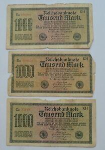 GERMANY 1000 MARK 1922 OLD BANKNOTES LOT