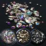 3D Diamond Flatback Glitter Glass Nail Art Rhinestones Colorful Bottom Crystal
