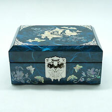 Blue jewelry box inlaid with mother of pearl and tortoise shaped metal latch