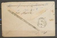 1871 Lettre réexp. OUVERTURE POUR RECTIFICATION D'ADRESSE RRR X5103