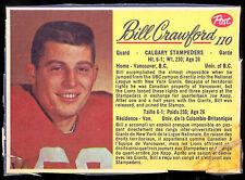1963 POST CFL FOOTBALL  #110 BILL CRAWFORD VG CALGARY STAMPEDERS UNIV UBC
