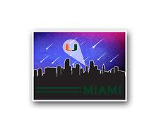 "Miami Hurricanes Poster City Skyline Art Print Man Cave Decor 12x16"""