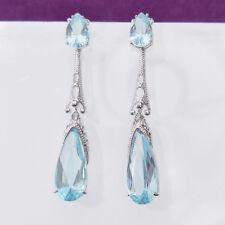 Handmade Sky Blue Topaz Gems Vintage Silver Woman Dangle Drop Earrings Wedding