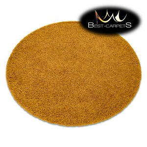 "Amazing Modern Rug shaggy ""SOFFI"" 5cm, circle, single-colour, GOLD High Quality"