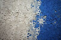 """Vintage Hand Made Crocheted Bed Cover Table Cloth Ivory Blue 92"""" X 62"""" Cotton"""