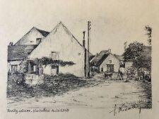 Pouilly-sur-Loire Nièvre dessin à l'encre signé  F.Nouaille 1948 superbe France