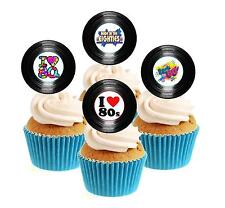 Novedad 80's Party Vinilo Colección 12 Comestibles Stand Up Oblea papel Cake Toppers