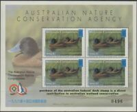 Australia Cinderella Ducks 1996 Taipei Exhibition, Blue-billed Duck MS MNH