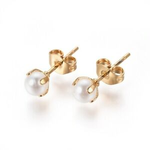 304 Stainless Steel Stud Earrings Pearl Beads Back White Gold 16.5x4.5mm P597