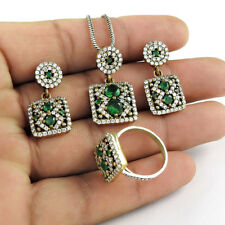 Green Tsavorite CZ Gemstone 925 Sterling Silver Ring Earring And Pendant Set