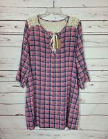 Kori America Boutique Women's L Large Pink Plaid Lace Spring Dress NEW With TAGS