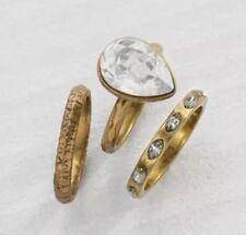 "❤️Silpada K&R ""Shine Bright"" Brass Crystal Stack Set Of 3 Rings Swarovski 5 NWT"