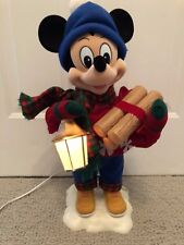 Vintage Disney Animated Mickey Mouse log Winter Wonderland Christmas Decoration