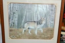 CHARLES FRANCE LIMITED EDITION PRINT SIGNED & NUMBERED WATCHFUL GREY WOLF FRAMED