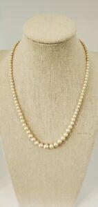 "VTG Estate 10K White Gold & Graduated Pearl 16"" Necklace"