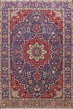 Vintage Traditional Tebriz Hand-Knotted Area Rug Floral Oriental Carpet 7x10 ft